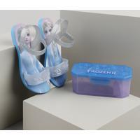 Sandália Grendene Frozen Vem Com Kit Para Lanche Azul Claro