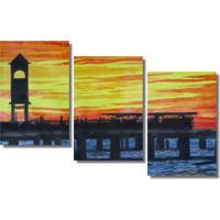 Quadropainel Decorativo Ponte Metalica Ao Por Do Sol Amarelo