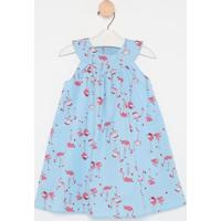 Vestido Floral Com Pregas- Azul Claro & Rosa- Miss Mmiss Mariah