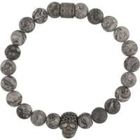 Northskull Skull Charm Beaded Bracelet - Cinza