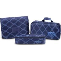Nécessaire 3 Em 1- Azul Marinho & Azul- 3Pçs- Jajacki Design