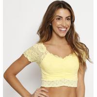 Blusa Cropped Em Renda- Amarela- Liebeliebe