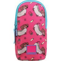 Estojo Soft Hot Dog- Pink Azul Claro- 20X10X5Cmbrdermiwil