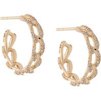 Astley Clarke Par De Brincos De Argola Em Ouro Amarelo 14Kt Com Diamante 'Vela' - Dourado