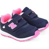Tênis Infantil Mini-Pé Velcro Feminino - Feminino-Marinho+Pink