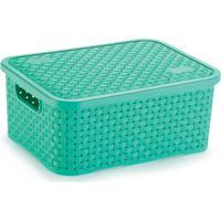 Caixa Organizadora De Plástico Rattan Pequeno Com Tampa Verde