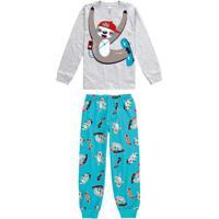 Pijama Cinza Claro Infantil Estampado Brilha No Escuro
