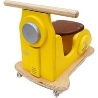Carrinho Motoneta Kits E Gifts - Madeira - Amarelinda Com Banco Café Racer - 100% Artesanal - Amarelo