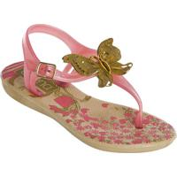 Sandália Infantil Rosa Com Detalhe Dourado