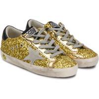 Golden Goose Kids Tênis Superstar De Couro Com Glitter - Dourado