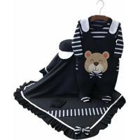 Saída Maternidade Asas De Anjo Urso Carinhoso Azul Marinho