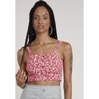 Top Cropped De Sarja Feminino Estampado Floral Com Botões Alça Média Decote Reto Rosa Escuro