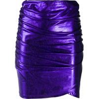 Andamane Ruched Metallic Mini Dress - Roxo