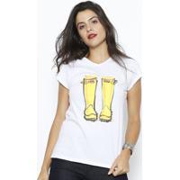 Camiseta Botas - Branca & Amarela - Club Polo Collecclub Polo Collection