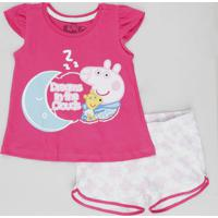 Pijama Infantil Peppa Pig Manga Curta Pink