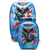 Kit Mochila E Lancheira Grande Max Toy Liga Da Justiça Superman Escolar Azul