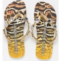 Chinelo Metalizado Animal- Dourado & Marrom Clarocarmen Steffens