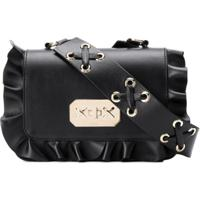Red Valentino Red (V) Rockruffle Shoulder Bag - Preto