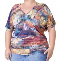 Blusa Confidencial Extra Plus Size Decote V Feminino - Feminino-Colorido