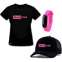 Camiseta Baby Look E Boné Banda Black Pink Preto Com Relógio