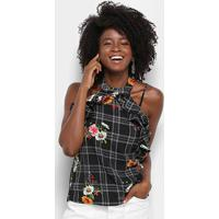 Blusa Lily Fashion Xadrez Floral Babados Feminina - Feminino-Preto
