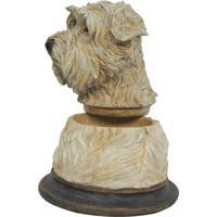 Pote Decorativo Cachorro- Bege & Marrom Escuro- 16,5Btc Decor