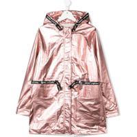 Little Marc Jacobs Teen Laminated Hooded Parka Coat - Rosa