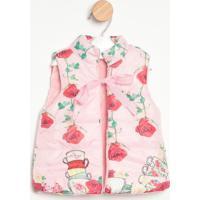 Colete Em Matelassê Floral- Rosa & Vermelholuluzinha