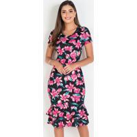 Vestido Floral Dark Com Babados Moda Evangélica