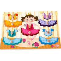 Tabuleiro Tooky Toy De Encaixe Veste Menina Em Madeira - Tkg050 - Multicolorido