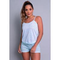Pijama Mvb Modas Curto Blusinha Alça Short Liso Feminino - Feminino-Azul