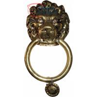 Batedor De Porta Cara De Leão Em Bronze