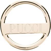 Emilio Pucci Broche Com Logo - Dourado