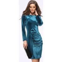 Vestido Tubinho De Veludo Longuete - Azul Petróleo M