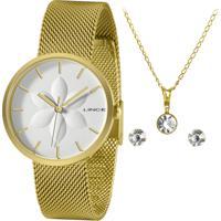 Relógio Lince Feminino Dourado + Corrente, Pingente E Par De Brincos Semijóia - Lrgh154L-Kz75B1Kx