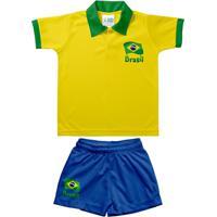Netshoes  Conjunto Polo Infantil Torcida Baby Brasil Unissex - Unissex 31a19434d9e66