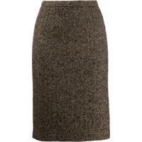 Red Valentino Chevron Pencil Skirt - Neutro