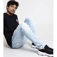 Calça Jeans Masculina Bbb Skinny Destroyed Azul Claro