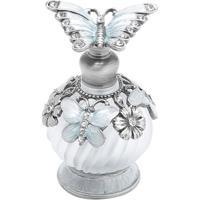 Frasco Para Perfume- Incolor & Prateado- 7,5Xø4,5Cm