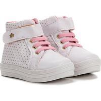 Tênis Infantil Menina Fashion Cano Alto Velcro E Elástico Feminino - Feminino-Branco