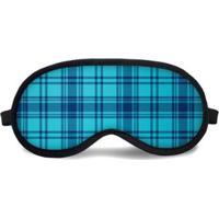 Máscara De Dormir Tritengo Tartan Azuis - Unissex-Azul Claro+Azul