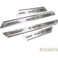 Aplique Da Soleira - Mult - Civic 2012 Até 2015 4 Portas - Aço Inox Escovado Auto Colante - Jogo - 11450