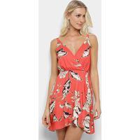 Vestido Curto Morena Rosa Floral Feminino - Feminino-Coral