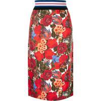 Marni Saia Midi Floral - Vermelho