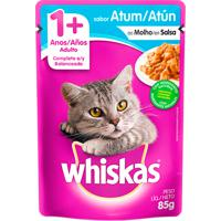 Ração Para Gatos Whiskas Adulto 1+ Anos Sachê Sabor Atum Ao Molho Com 85G