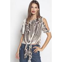 Blusa Lisa Com Vazados & Amarração - Off White & Preta