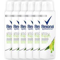 Kit Desodorante Antitranspirante Rexona Bamboo & Aloe Vera Feminino Aerosol 150Ml Com 6 Unidades - Feminino-Incolor