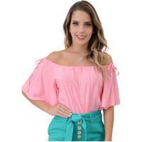 Blusa Mamorena Ombro Com Amarraçã Rosa