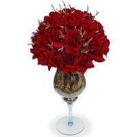 Arranjo De Flores Artificiais Felicitadecor Rosas Vermelho
