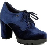 Sapato De Salto Oxford Feminino Azul Marinho